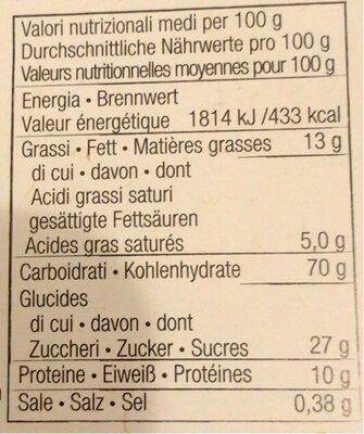 Cantucci alle mandorle - Voedingswaarden - fr