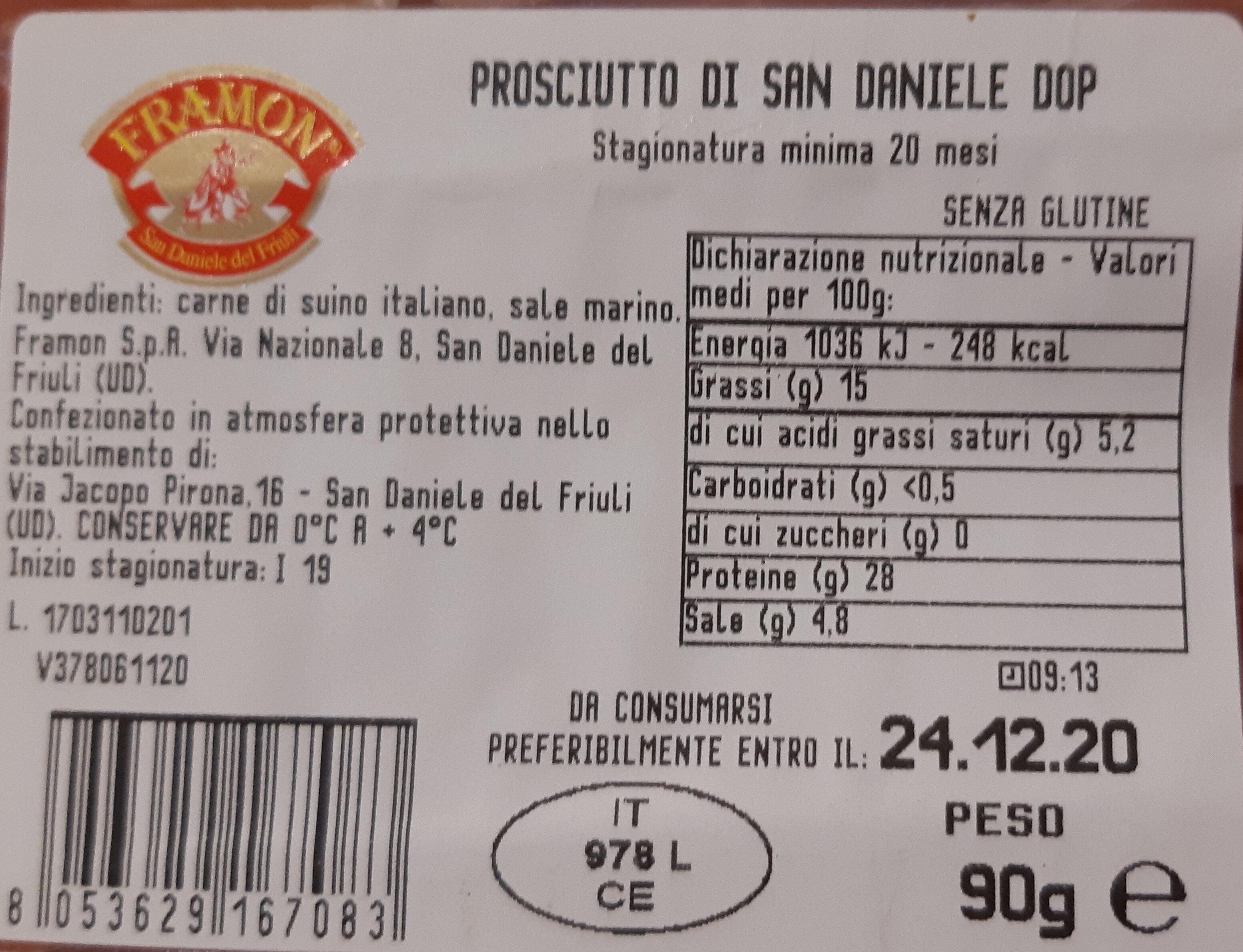 Prosciutto di san daniele - Ingredienti - it