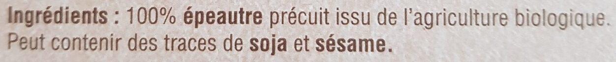 Epeautre précuit - Ingredients - fr