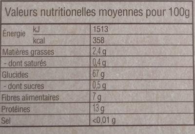 Epeautre précuit - Nutrition facts - fr