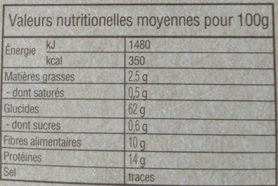Blé dur précuit Biologique - Informations nutritionnelles - fr