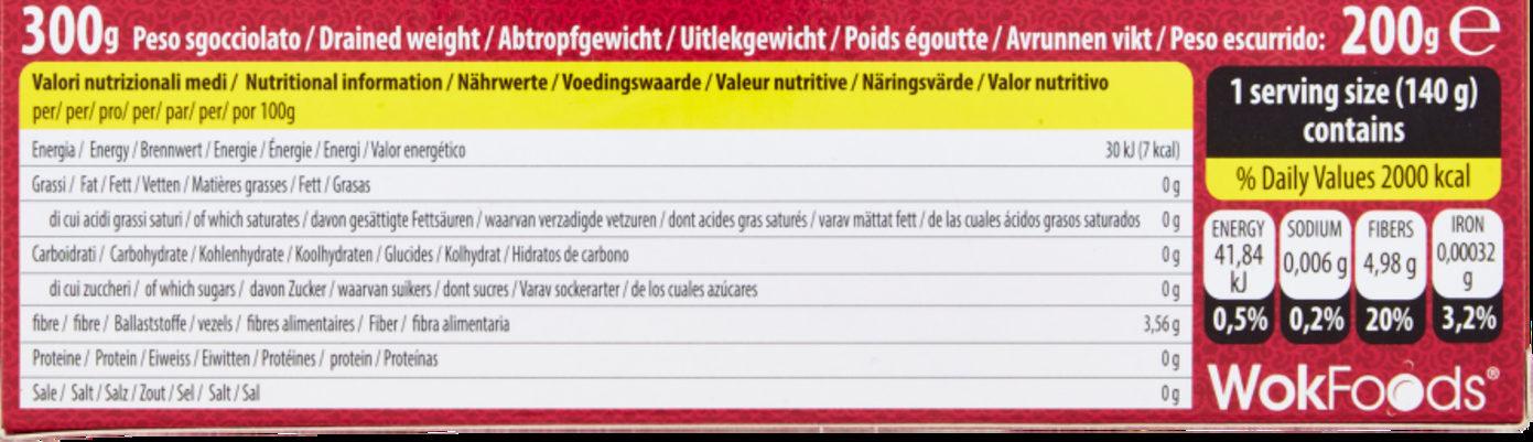 Konjac shirataki - Información nutricional