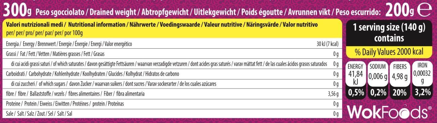 Konjac Linguine - Información nutricional