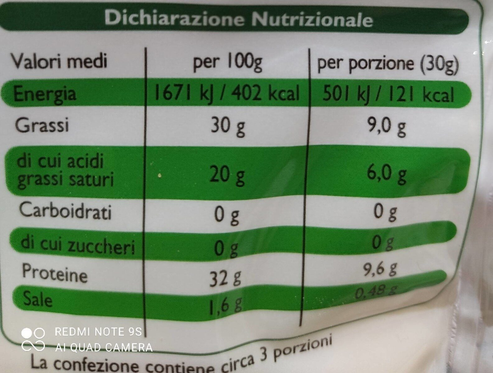 Parmigiano Reggiano DOP grattugiato - Valori nutrizionali - it