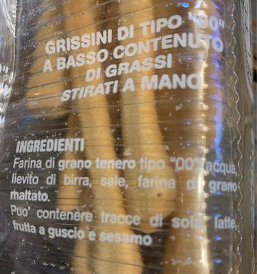 Grissini - Ingrédients