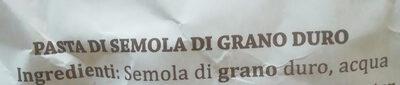 Pasta di Semola di grano duro Paccheri rigati - Ingredients