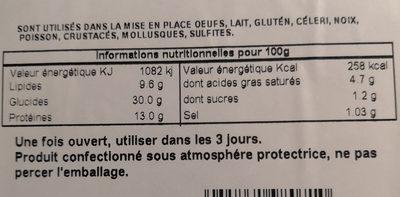 Tortelloni gorgonzola e noci - Informations nutritionnelles