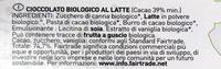 Cioccolato al latte Biologico 39% Cacao - Ingredienti