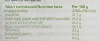 Cioccolato al latte Biologico 39% Cacao - Informazioni nutrizionali