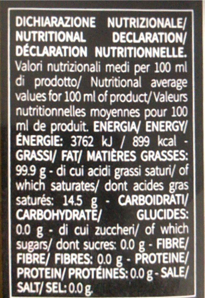 Huile d'olve - tabel nutrisi - fr