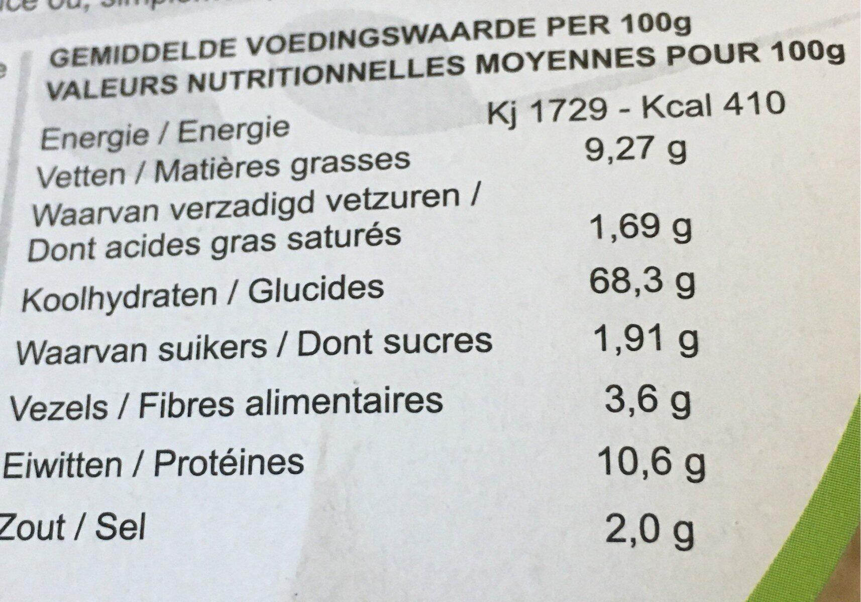 Pizza croquante - Voedingswaarden - fr
