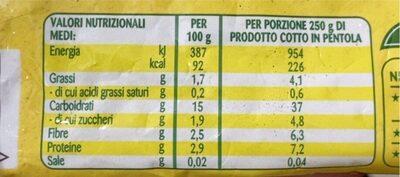 Zuppa farro e ceci - Informations nutritionnelles - it