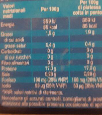 Filetti dIGPlatessa - Informations nutritionnelles - fr