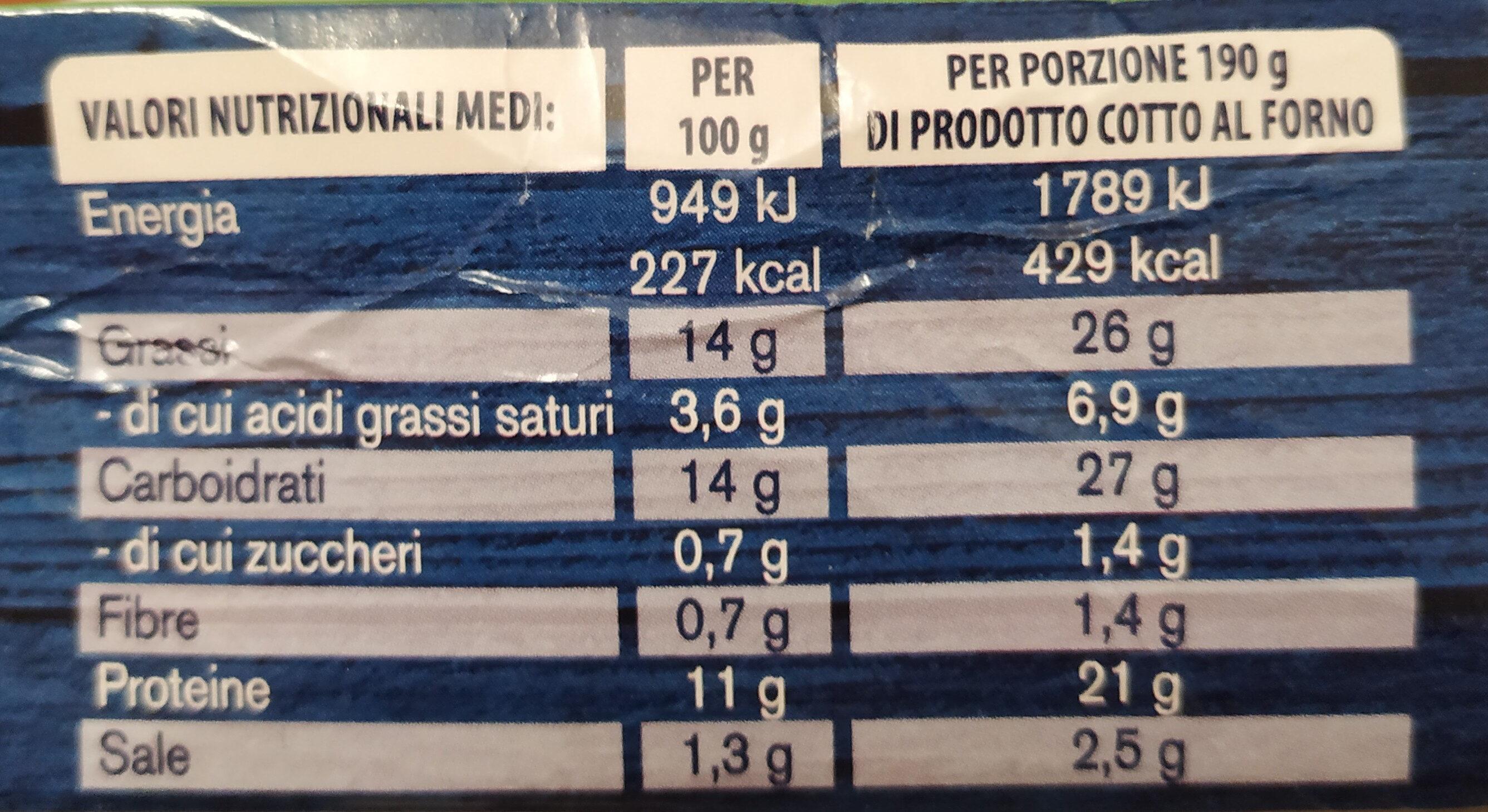 I gratinati merluzzo d'Alaska con erbe mediterranee - Informations nutritionnelles - it
