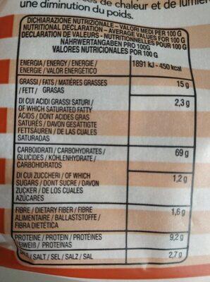 Tarallini - Informations nutritionnelles - fr
