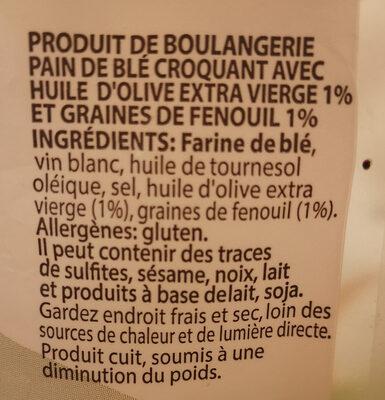 Taralli aux graines de fenouil - Ingredients - fr