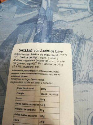 Grissini con Aceite de Oliva - Ingrédients - es