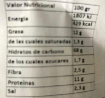Grissini con Aceite de Oliva - Informations nutritionnelles - es