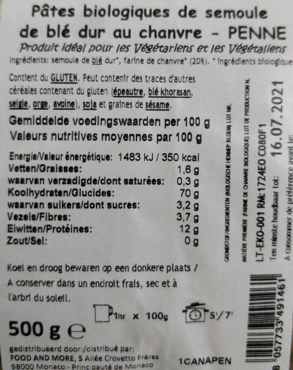 Biologische penne blé dur chanvre - Nutrition facts - fr