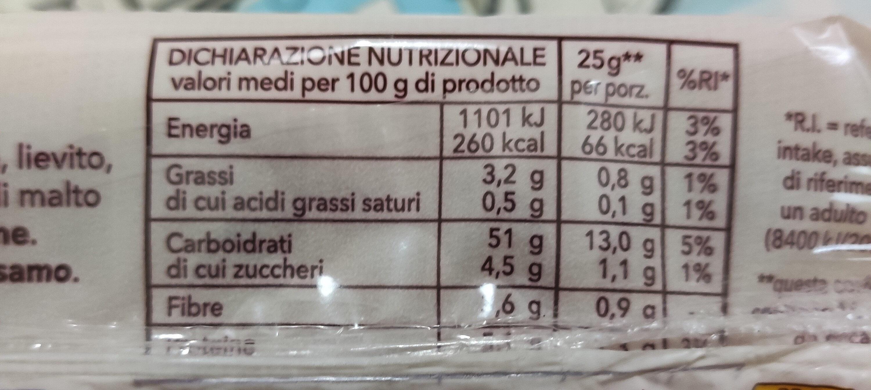 Pane morbido a fette - Nutrition facts - it
