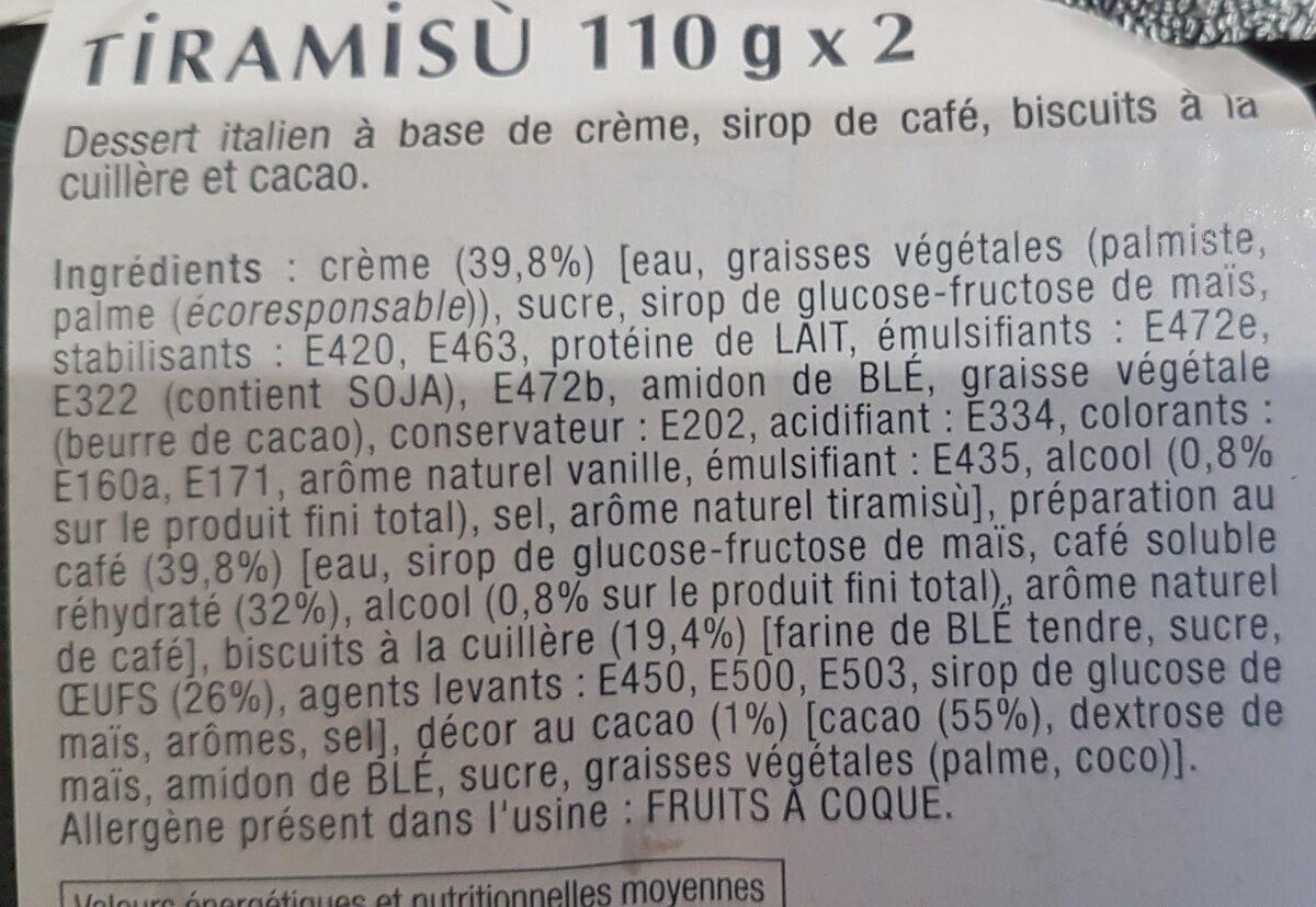 Tiramisu - Ingrediënten