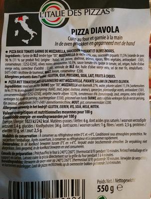 PizzDiavola - Voedingswaarden