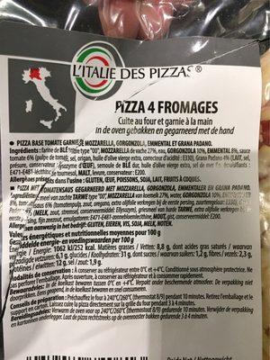 Pizza 4 fromages - Ingrédients - fr