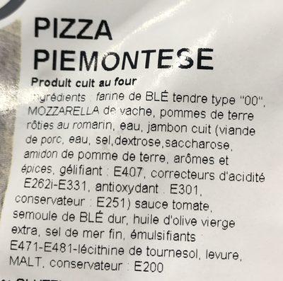Pizza Piemontese - Ingrédients