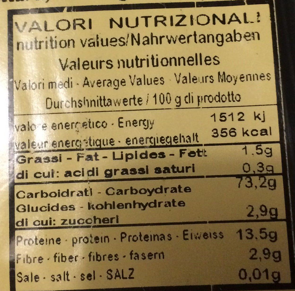 Linguine con nero di seppia - Nutrition facts