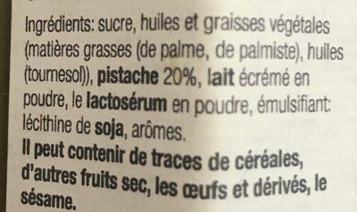 Crème de pistache - Ingrediënten - fr
