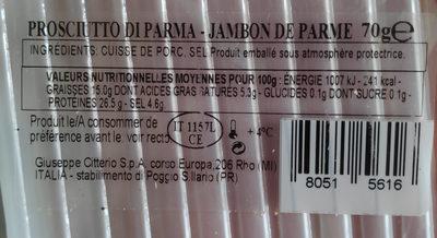 Tagliofresco - Jambon de parme - Valori nutrizionali - fr