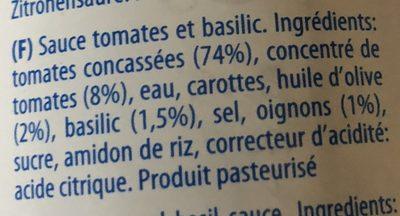 Sugo al Basilico - Ingredients