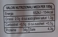 bresaola della Valtellina i.g.p. - Informations nutritionnelles - it