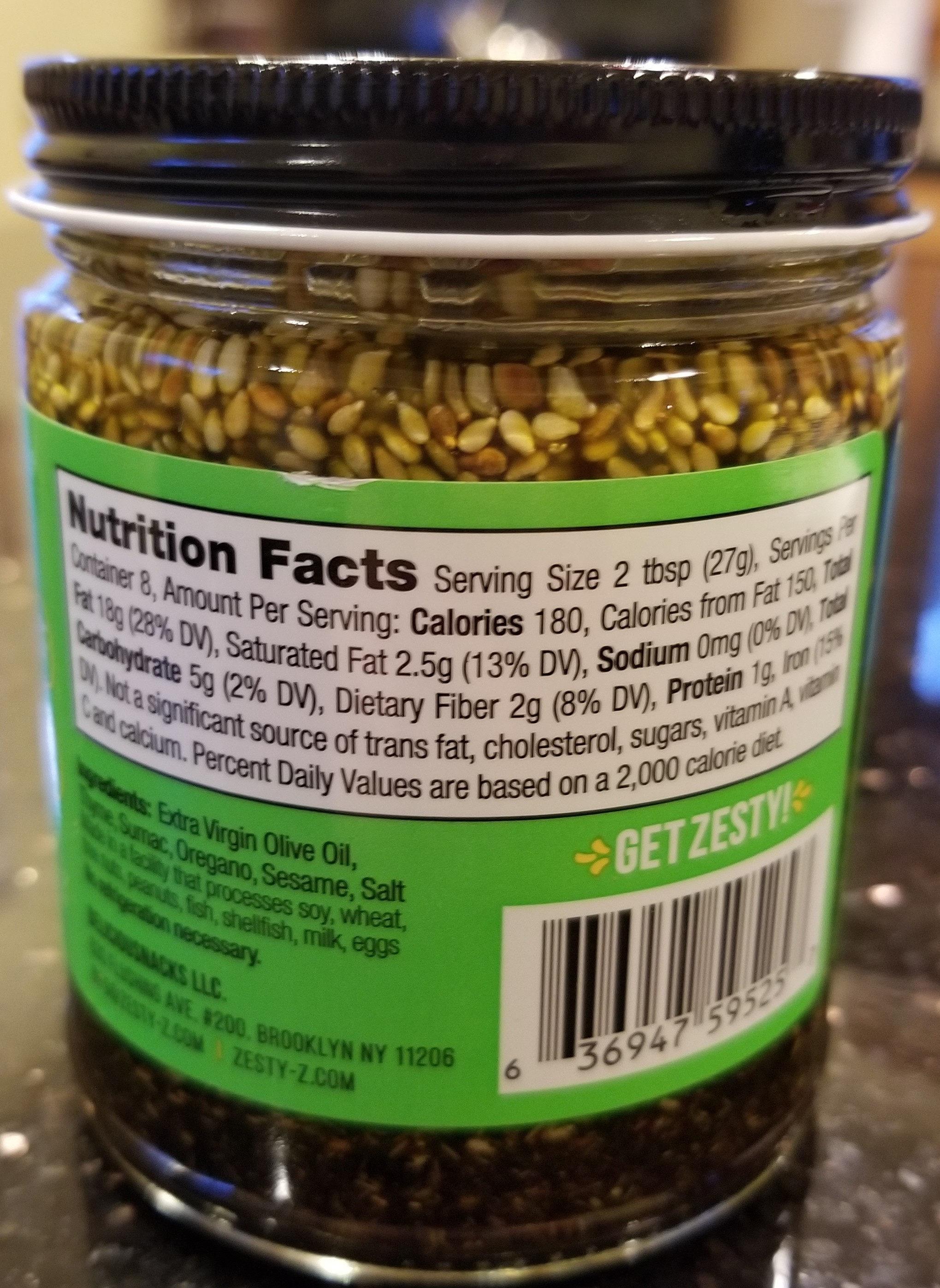 Mediterranean Za'atar - Nutrition facts - en