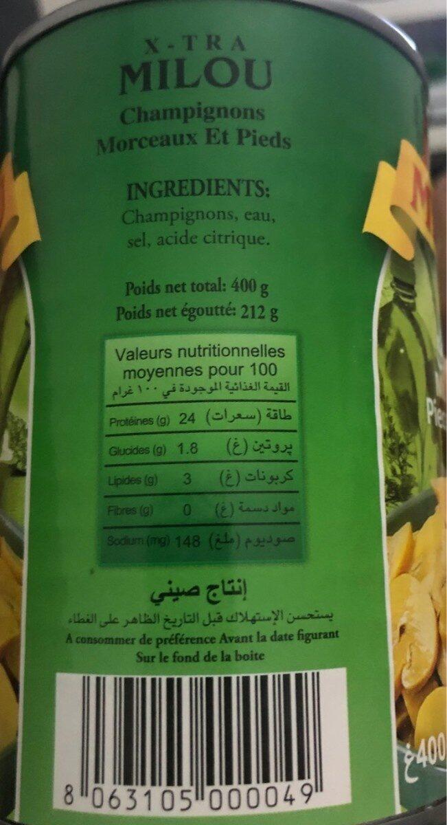 Champignons decoupés - Nutrition facts