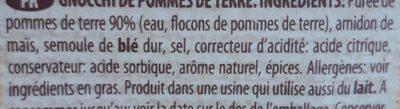 Gnocchi - Ingredientes - fr
