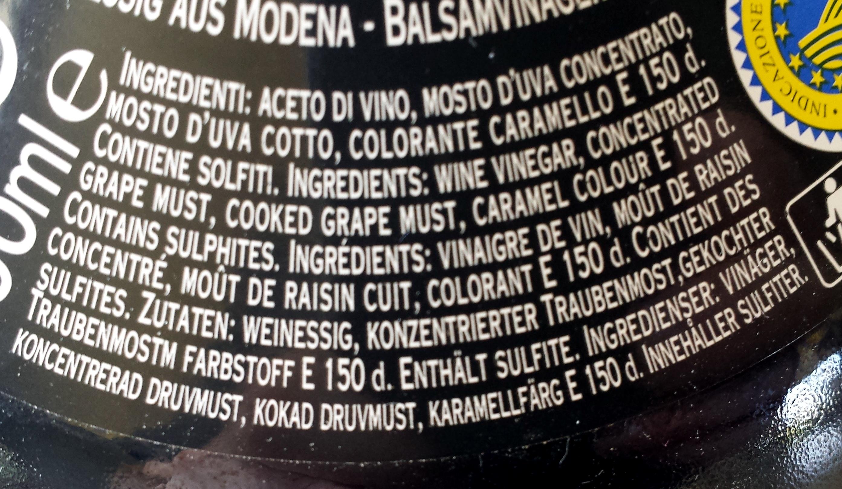 Vinaigre balsamique de modène - Ingredienser