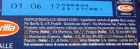 BARILLA FARFALLE Pasta di semola di grano duro - Ingrediënten - it