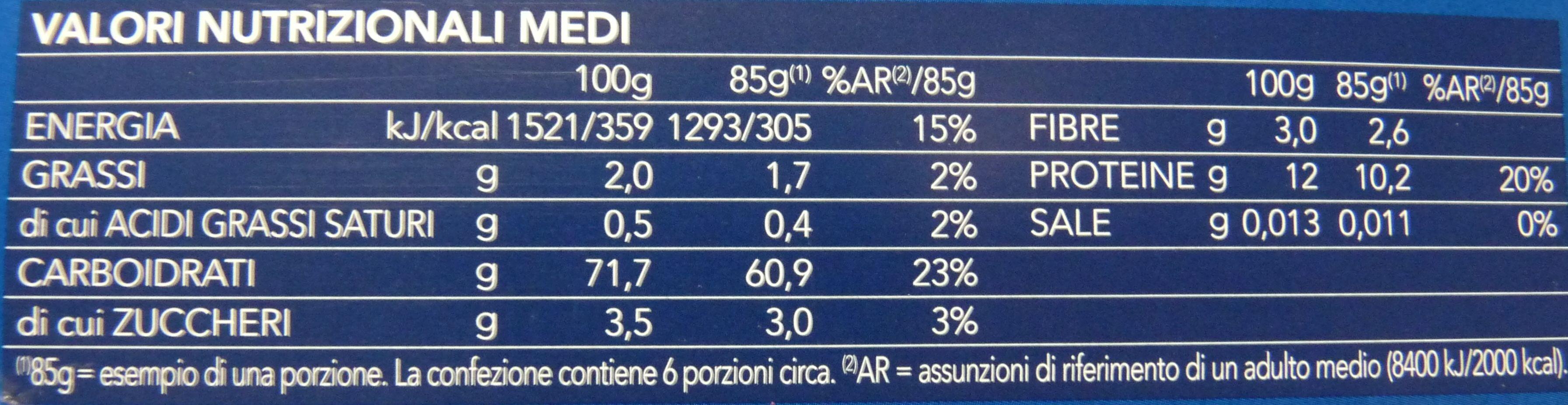 BARILLA FARFALLE Pasta di semola di grano duro - Voedingswaarden - it