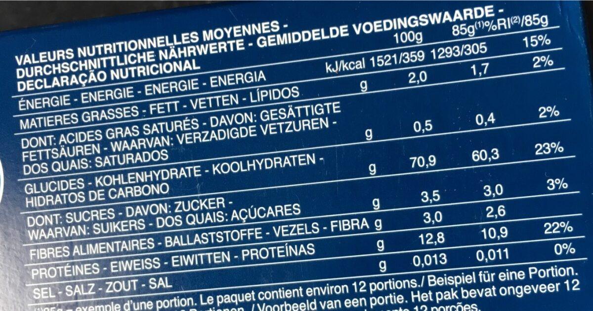 Pâtes Spaghetti - Informations nutritionnelles