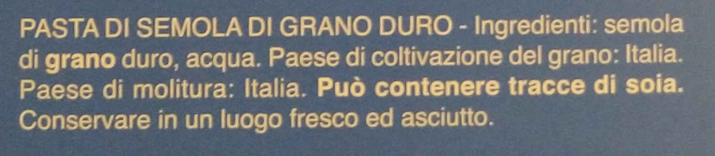 Fusilli n° - Ingredients - it