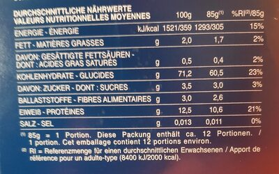 Fusilli n° - Nutrition facts - it
