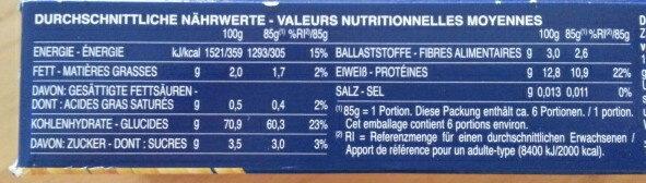 Pâtes alimentaires Spaghetti n.5 - Nährwertangaben - de