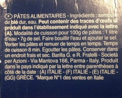 Pâtes Maccheroncini - Ingredients