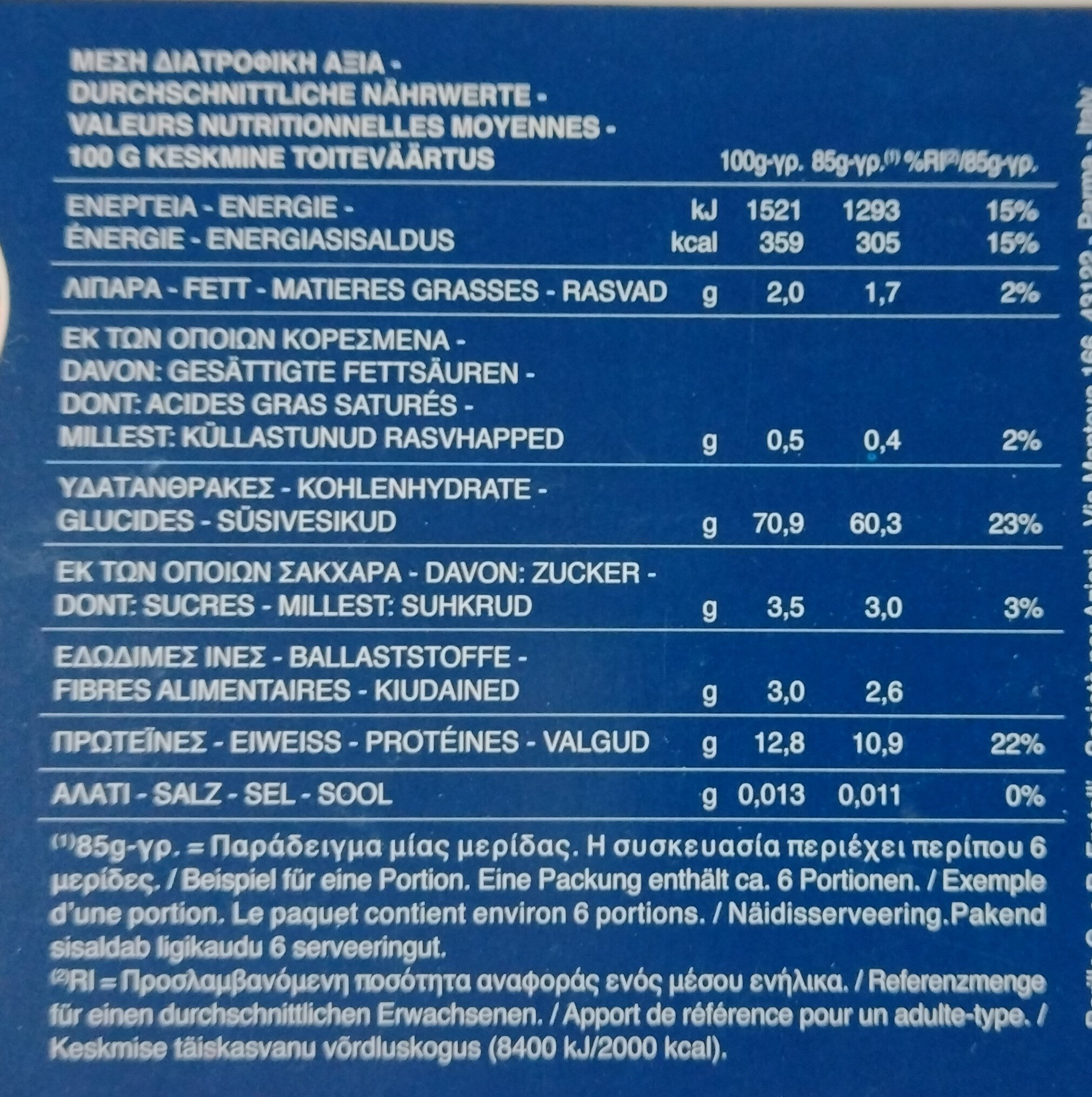Macaroni Long - Nährwertangaben - de