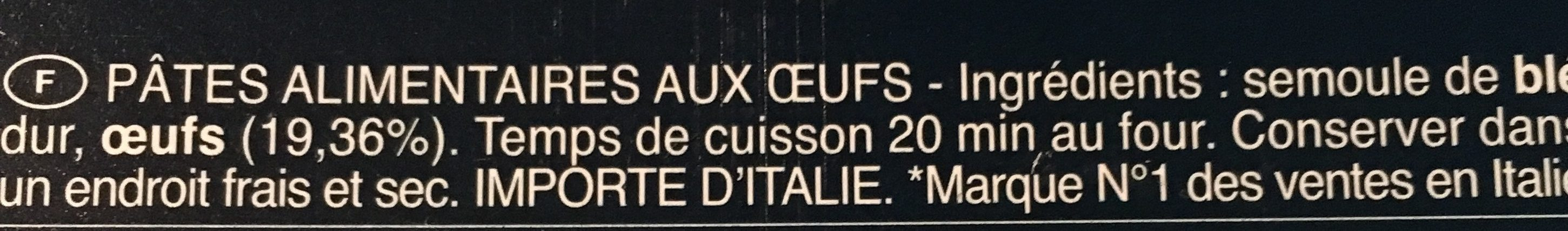 Lasagne all'uovo - Ingrédients - fr