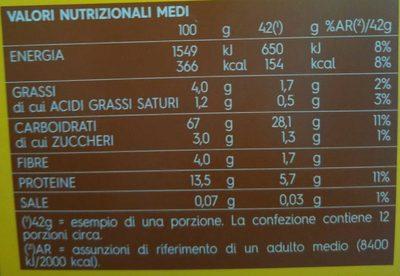 Lasagne all'uovo - Informação nutricional - it