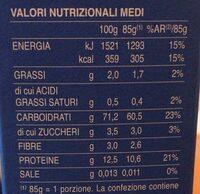 Mezze penne rigate n° - Voedingswaarden - it