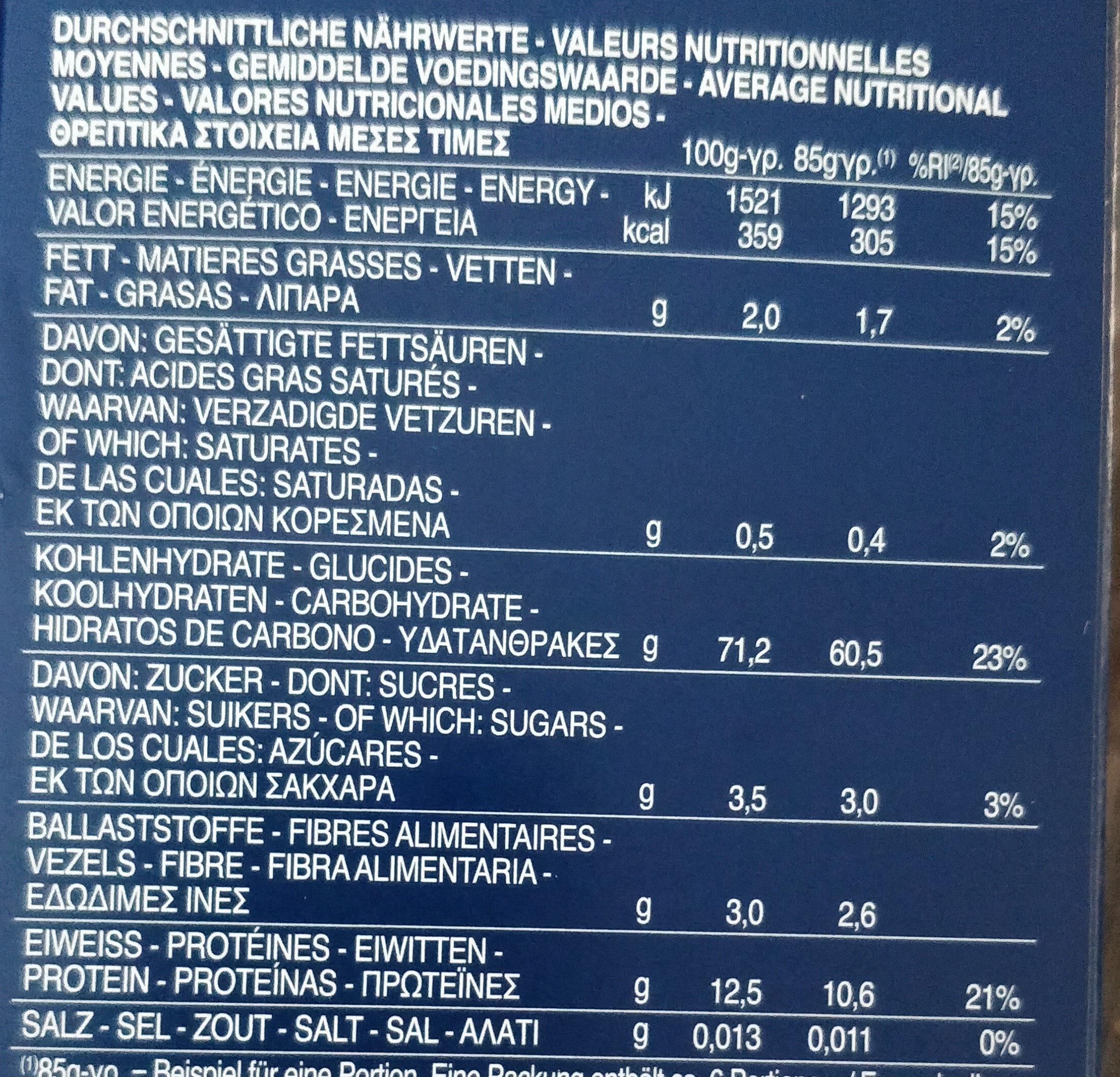 Penne lisce 500g imu eu - Valori nutrizionali - fr