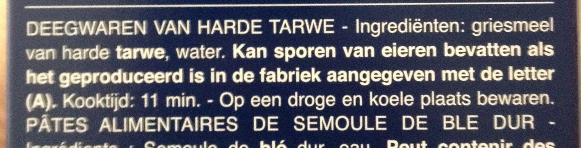 Penne rigate n.73 - Ingrediënten - nl